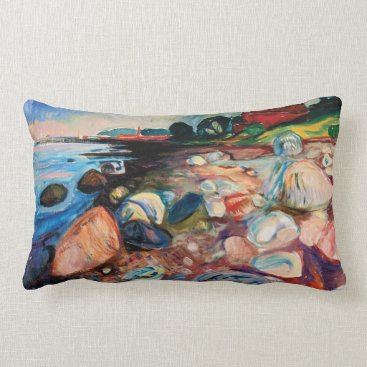 Shore with Red House by Edvard Munch Lumbar Pillow