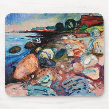 Shore with Red House by Edvard Munch Mouse Pad