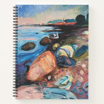 Beach Themed Shore with Red House by Edvard Munch Notebook