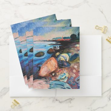 Beach Themed Shore with Red House by Edvard Munch Pocket Folder
