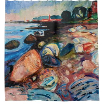 Shore with Red House by Edvard Munch Shower Curtain