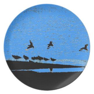 Shorebirds Art Melamine Plate