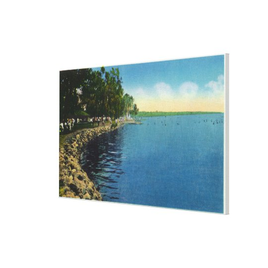 Shoreline, Pavilion, and Swimmers Canvas Print