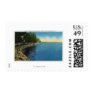 Shoreline, Pavilion, and Swimmers Postage