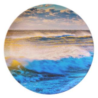 Shoreline scenic at sunrise dinner plates