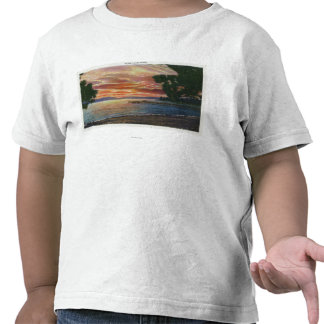 Shoreline Sunset View with Pier T-shirts