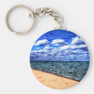 Shores of Lake Superior Basic Round Button Keychain