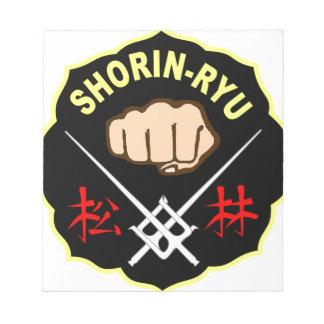 SHORIN RYU KARATE PATCH SYMBOL KANJI NOTE PAD