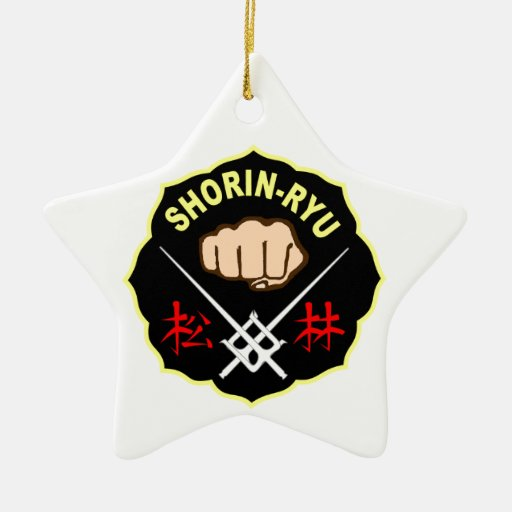 SHORIN RYU KARATE PATCH SYMBOL KANJI Double-Sided STAR CERAMIC CHRISTMAS ORNAMENT