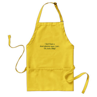 Short Attention Span Kitty (blue) Adult Apron