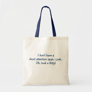Short Attention Span Kitty (blue) Tote Bag