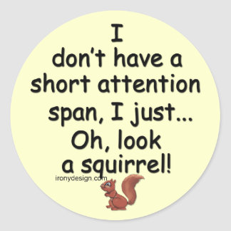 Short Attention Span Squirrel Classic Round Sticker