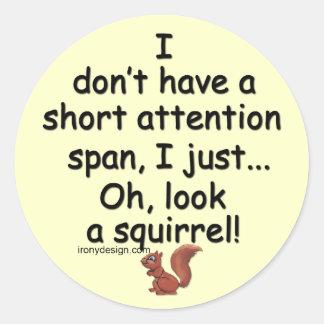 Short Attention Span Squirrel Classic Round Sticker