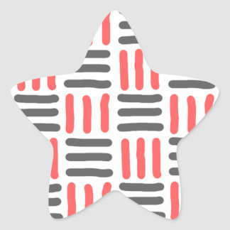short black and red lines graphic star sticker