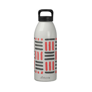 short black and red lines graphic reusable water bottle