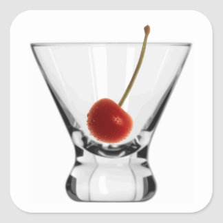 Short Cocktail Glass with Cherry Happy Hour Party Square Sticker