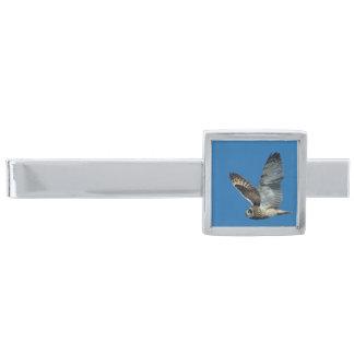 Short-eared Owl ( Asio flammeus) in flight Silver Finish Tie Bar