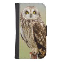 Short Eared Owl At Ninepipe Wma Near Ronan Wallet Phone Case For Samsung Galaxy S4