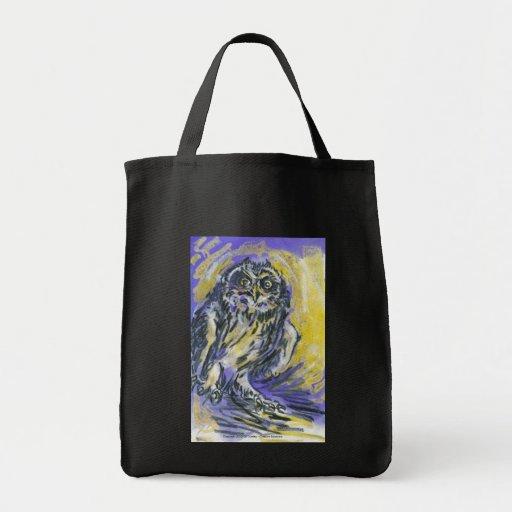 short eared owl canvas bags