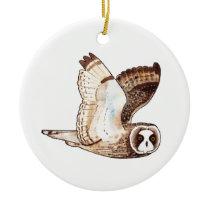 Short eared owl flying by ceramic ornament