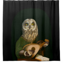 Short-eared Owl Goes Medieval - Anthropomorphism Shower Curtain