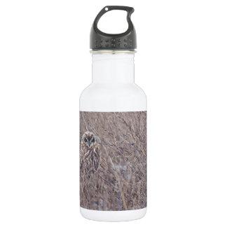 Short-eared Owl hiding in coastal grasses Water Bottle