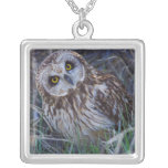 Short-eared Owl Silver Plated Necklace