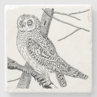 Short Eared Owl Stone Coaster