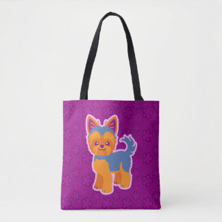 Short Hair Yorkie Kawaii Dog Cartoon Tote Bag