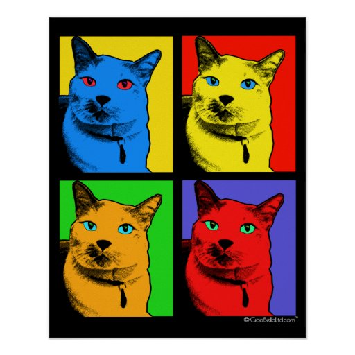 Short Haired Cat Pop Art By Request Posters