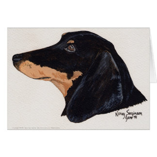 Short Haired, Dachshund, Acrylic Painting Card