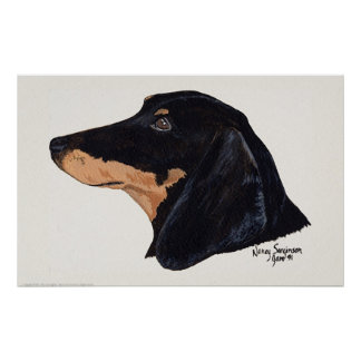 Short Haired, Dachshund, Acrylic Painting Poster
