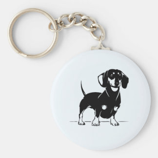 Short haired dachshund key chain