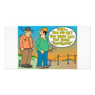SHORT HORN CARTOON / FARMER HUMOR CUSTOMIZED PHOTO CARD