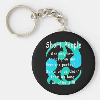 Short People Funny Revenge Design. Basic Round Button Keychain