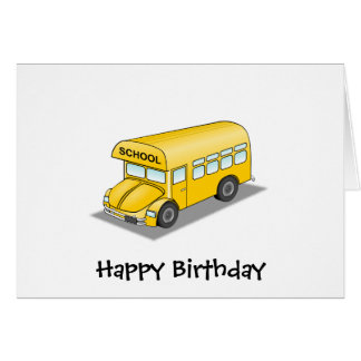 Short School Bus Greeting Cards