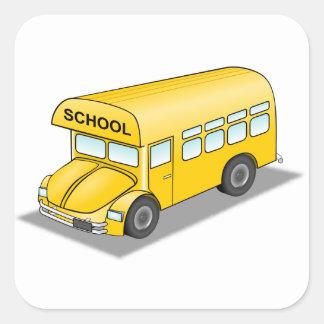 Short School Bus Square Sticker