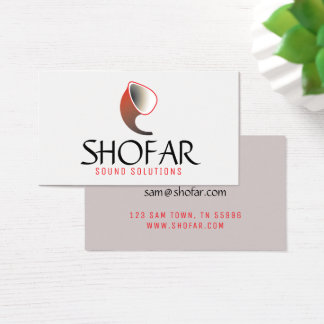 Short Shofar (red) Business Card