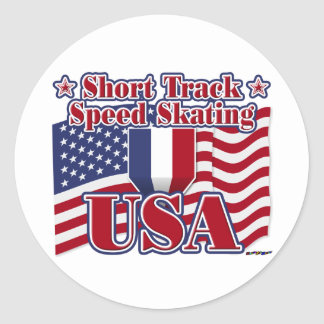 Short Track Speed Skating USA Classic Round Sticker