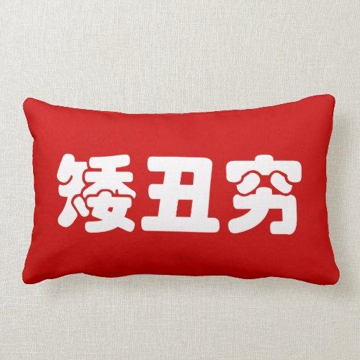 Short, Ugly & Poor 矮丑穷 Chinese Hanzi MEME Pillow