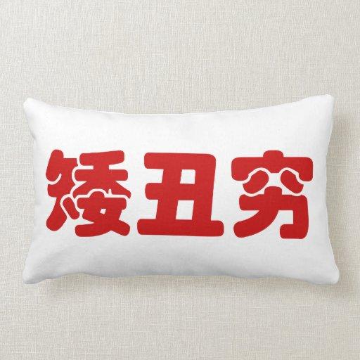 Short, Ugly & Poor 矮丑穷 Chinese Hanzi MEME Pillows