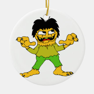 short wolfman halloween graphic Double-Sided ceramic round christmas ornament
