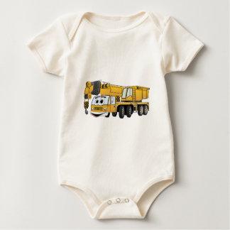 Short Yellow Cartoon Crane Baby Bodysuit