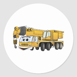 Short Yellow Cartoon Crane Classic Round Sticker