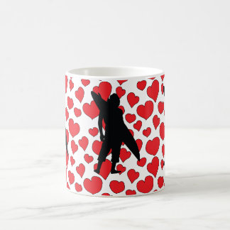 Shortboarder on heart collage pattern classic white coffee mug