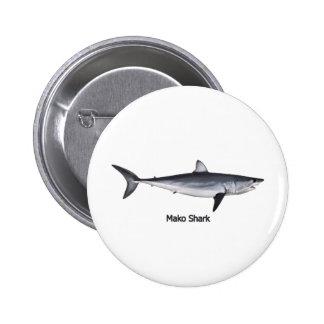 Shortfin Mako Shark Illustration Pinback Button