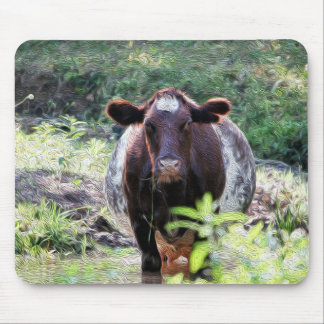 Shorthorn Dairy Cow Cooling in the Stream Mousepad