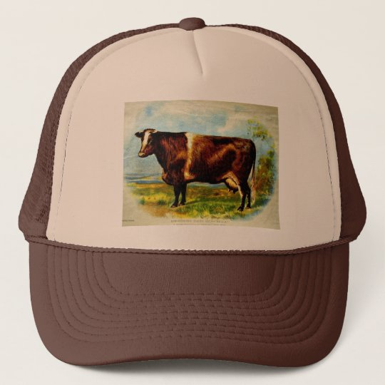 Shorthorn Dairy Cow Lithography 1904 Trucker Hat