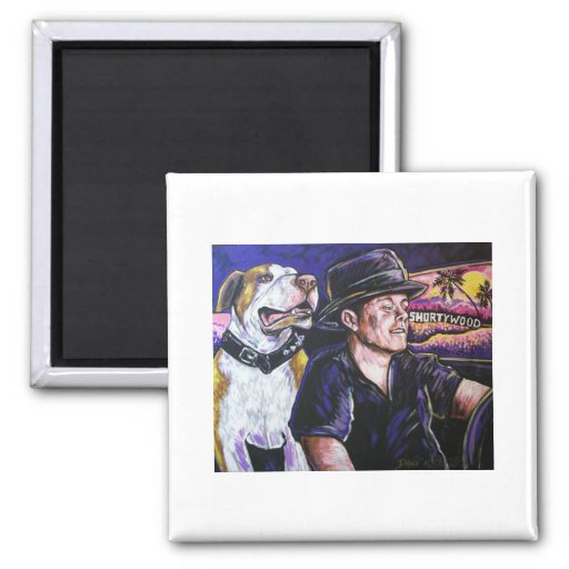 Shorty and Hercules taking a ride Refrigerator Magnet