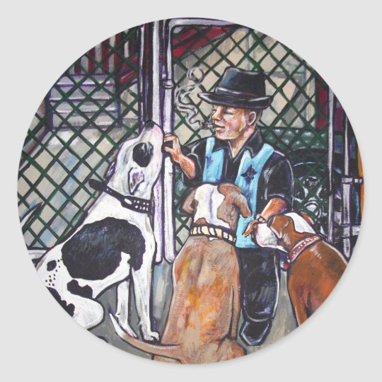 Shorty and his dogs classic round sticker